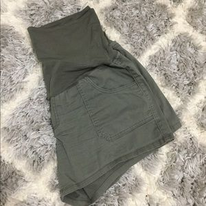 Olive Green Maternity Shorts